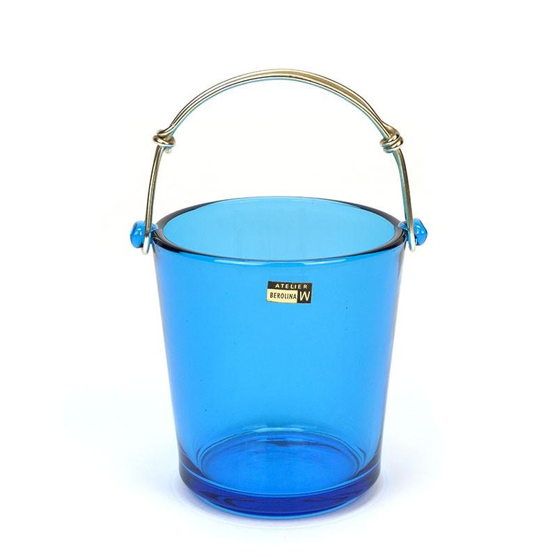 Vintage blue glass Atelier Berolina W ice bucket