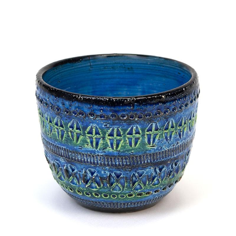 Small vintage Bitossi Rimini blue flower pot