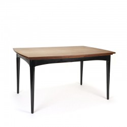 Danish vintage dining table with teak top and black base