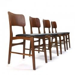 Deense set van 4 vintage eettafel stoel met brede rug