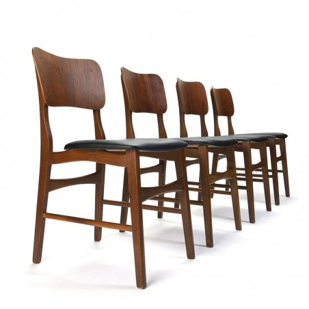 Danish set of 4 vintage dining table chair with wide back