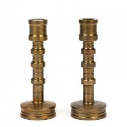Set of 2 vintage design candlesticks in brass