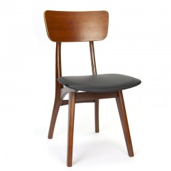 Teak vintage dining table chair with black seat