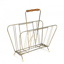 Sixties vintage brass newspaper rack