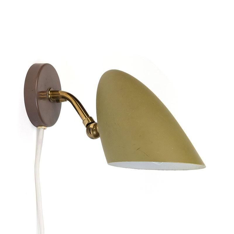 Vintage wandlamp met groen metalen kapje