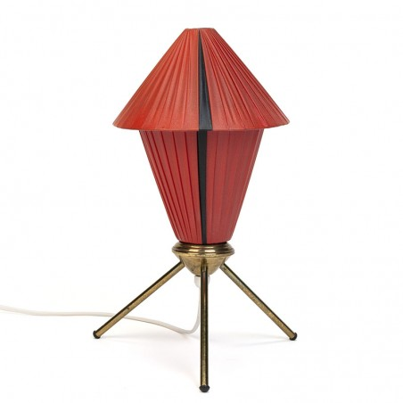 Deense vintage tafellamp op messing 3 poot