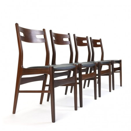 Danish set of 4 vintage dining table chairs in teak