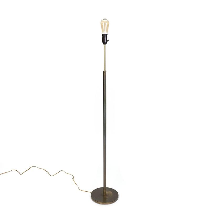 Minimalistische messing staande vintage vloerlamp