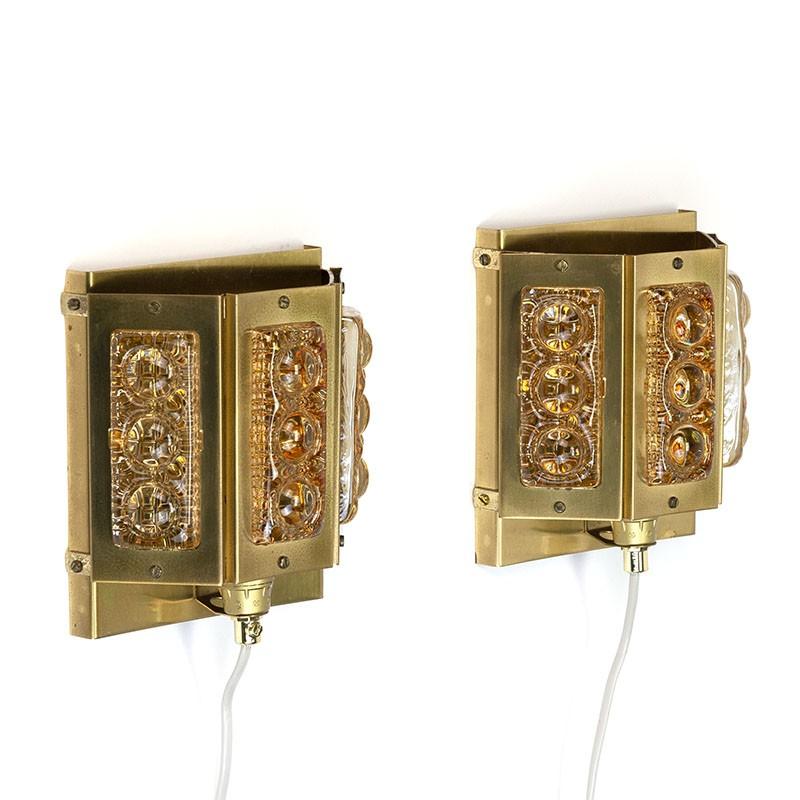 Set vintage Olympia wandlampen van Vitrika