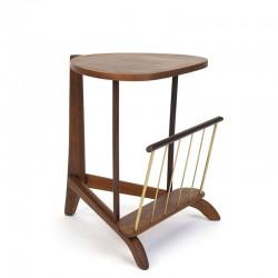 Teak vintage Danish plant table with magazine rack