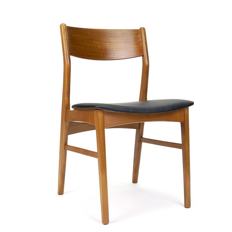 Deense vintage eettafel stoel met zwarte zitting