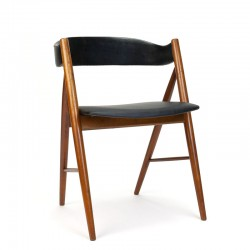 Vintage Deense eettafel of bureau stoel met beklede rugleuning