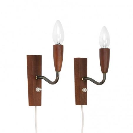 Vintage set van 2 Deense teakhouten wandlampen