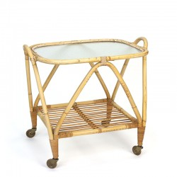 Vintage rattan tea trolley from the fifties/ sixties