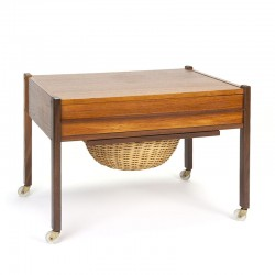 Vintage teak Danish sewing kit side table
