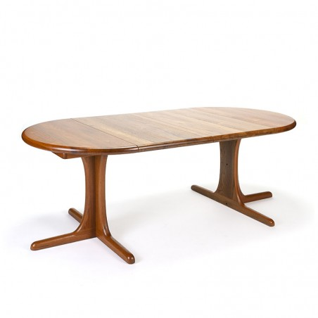 Vintage Danish teak dining table with 2 extension leaves