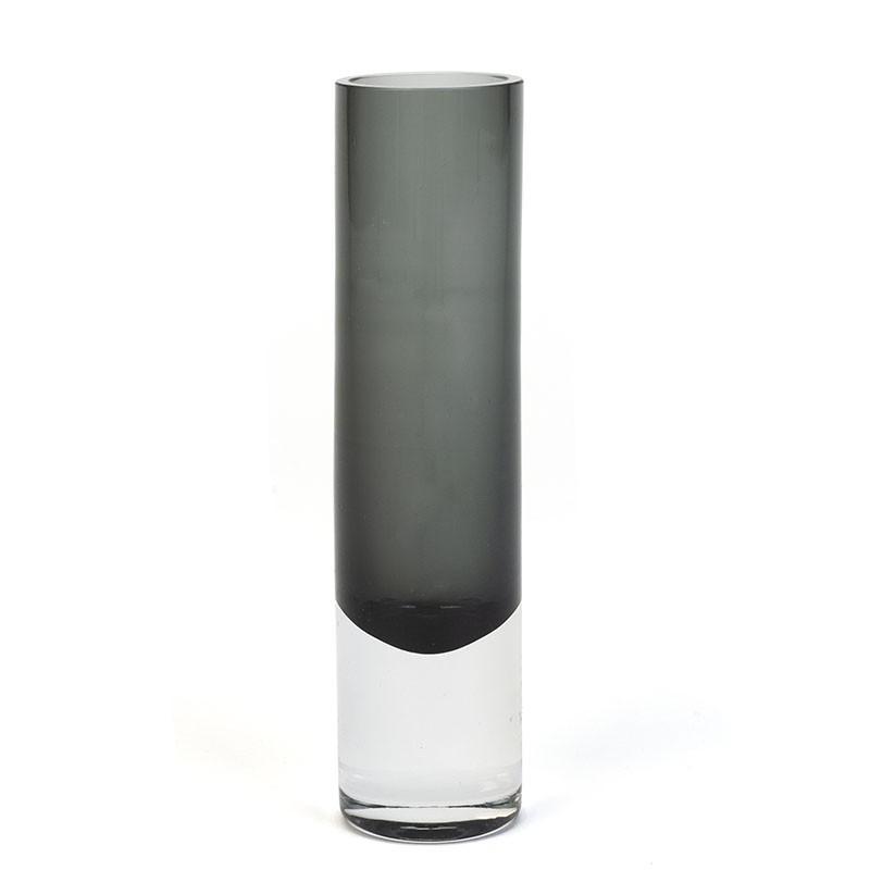Fins glazen vintage vaasje in grijs tint