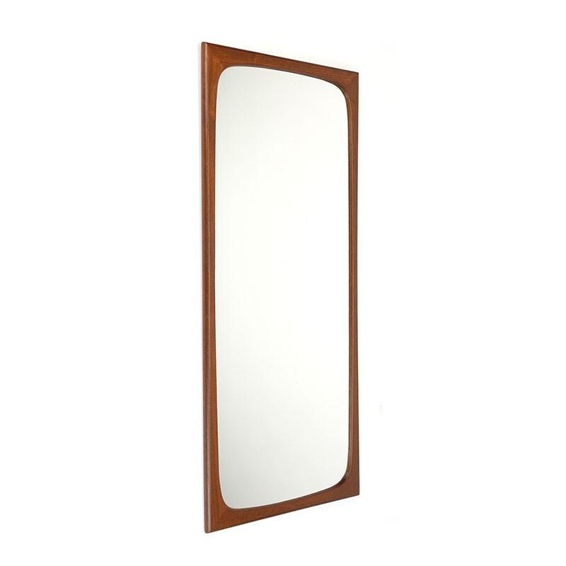 Danish vintage large teak mirror