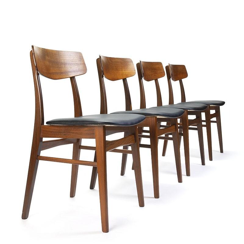 Deense set van 4 vintage teakhouten eettafel stoelen
