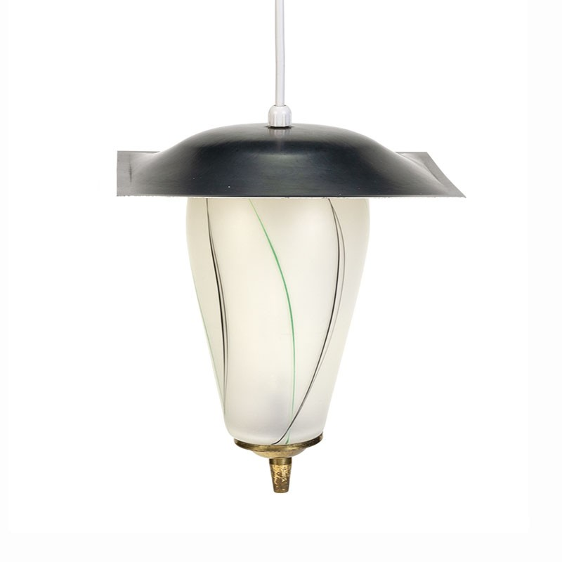 Fifties vintage small glass hanging lamp