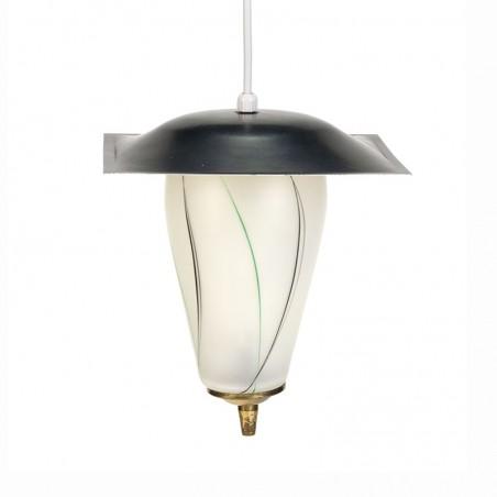 Vijftiger jaren vintage glazen hanglampje