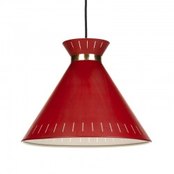 Danish red metal vintage hanging lamp