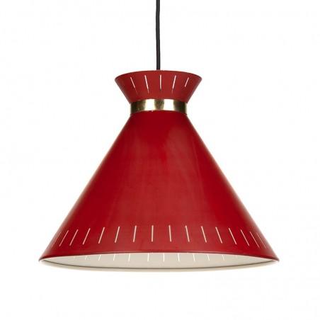 Deense rood metalen vintage hanglamp