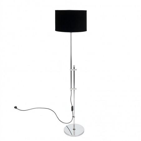 Chrome vintage floor lamp with black velor shade