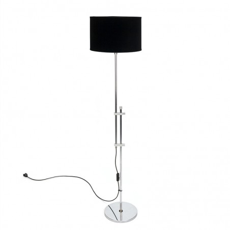 Chromen vintage vloerlamp met zwarte velour kap