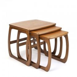 Teakhouten vintage nesttafels van Nathan Furniture