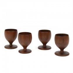 Vintage set of 4 teak egg cups