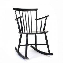 Deense vintage zwarte schommelstoel
