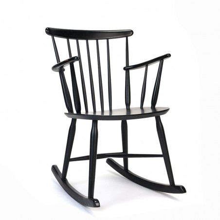 Danish vintage black rocking chair