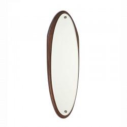 Ovaal model vintage spiegel met teakhouten donkere rand