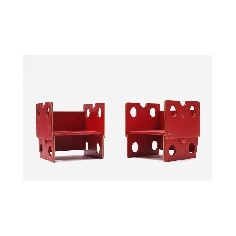 Set van 2 houten kinderstoeltjes rood