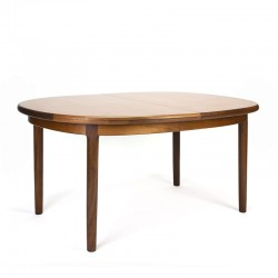 Vintage teak dining table oval extendable model