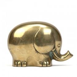 Messing vintage sculptuur van een olifant
