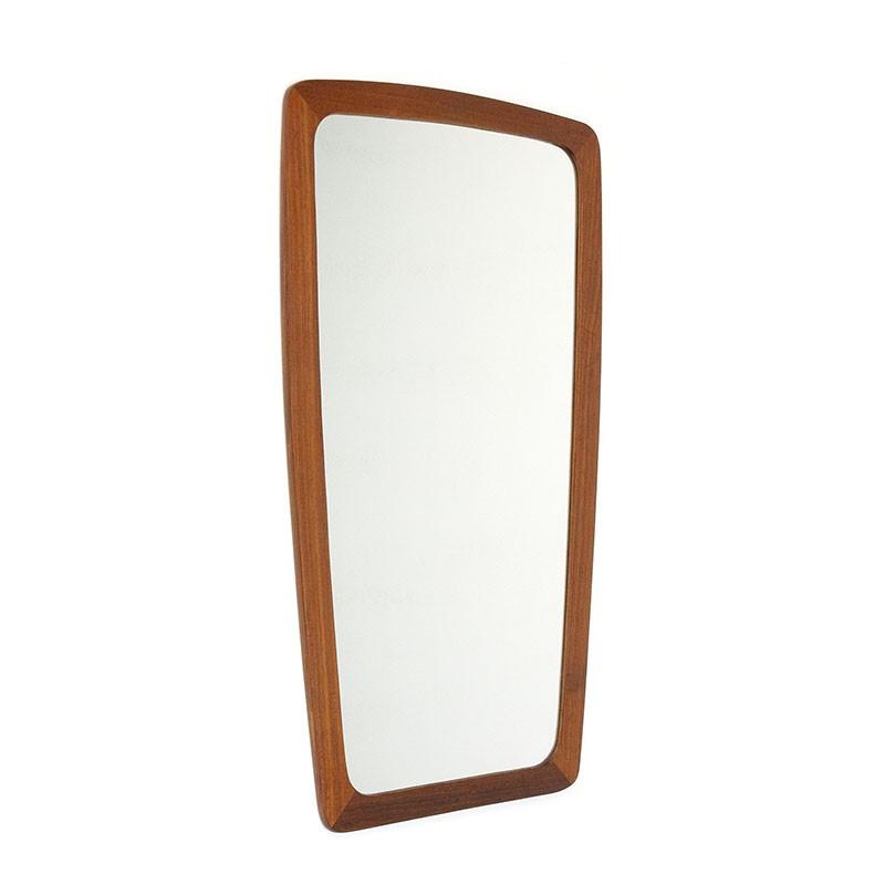 Deense vintage spiegel met teakhouten rand