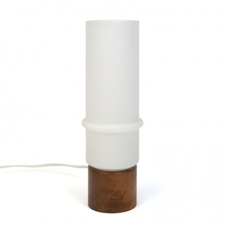Vintage table lamp with teak and milk glass