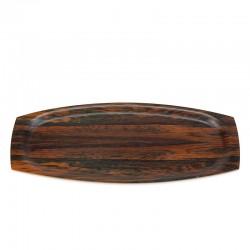 Ovaal model vintage palissander houten dienblad