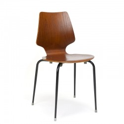 Danish vintage school chair with teak plywood seat