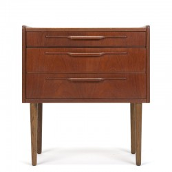 Small Danish chest of drawers in teak on a high leg