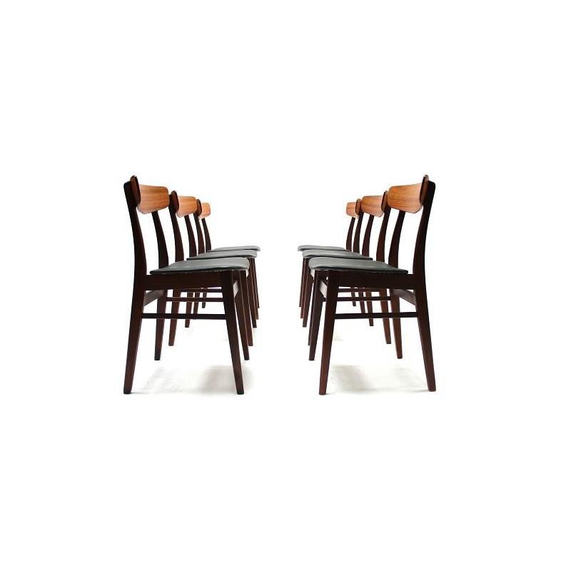 Set van 6 Deense palisander eetkamerstoelen