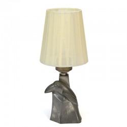 Vintage kleine tafellamp met Toekan in tin
