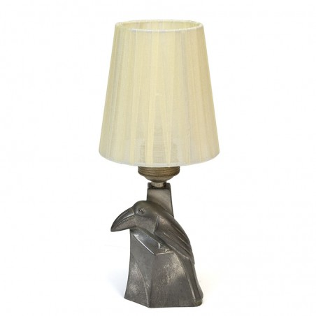 Vintage small table lamp with toucan in pewter