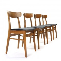 Set vintage Deense eettafel stoelen