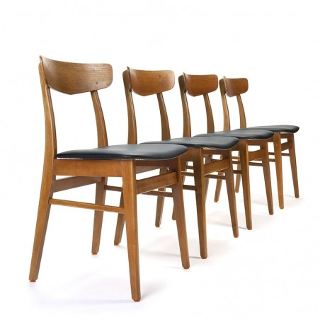 Set of vintage Danish dining table chairs