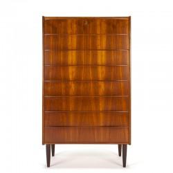 XL Danish vintage design tallboy dresser with 8 drawers