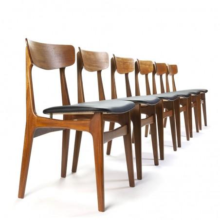 Deense Schiønning en Elgaard set van 6 vintage stoelen