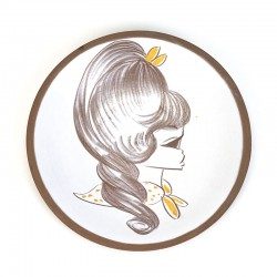 Vintage ceramic wall plate with girl